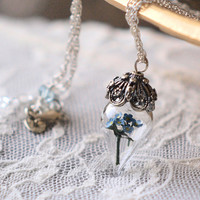 Blue Forget Me Not Flower Terrarium Necklace Glass Vial Sterling Silver by Woodland Belle