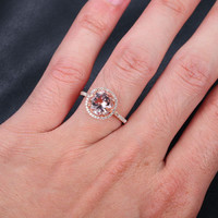 8mm/2.35ct Round VS Morganite Engagement Ring in 14K Rose Gold,.32ctw Diamond Halo Morganite Ring, 14k Yellow Gold White Gold Also Available