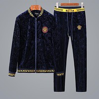 """Versace""Autumn Winter New Popular Women Men Casual Zipper Sweater Top Pants Trousers Set Two-Piece Sportswear Navy Blue I-BJQSFS"