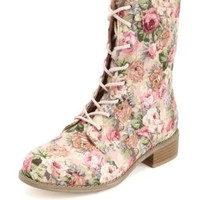 Floral Print Fabric Lace-Up Combat Boots - Pink Combo