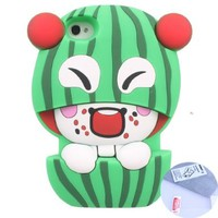 Arbalest Cute Fruit Case for Iphone 4 4s, Soft Silicon Watermelon Fashion Cute Case for Iphone 4/4s - (Green),Gifts one Arbalest cleaning cloth & one screen protector for iPhone 4 4S