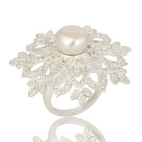 925 Sterling Silver White Topaz And Pearl Flower Cocktail Ring