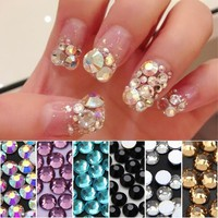 1440 PCS Colorful Crystal Swarovski Rhinestones Diamante Silver Flat Back Accessories For Nail Clothes Girl Diy