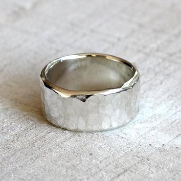 Men's wide band hammered sterling silver ring