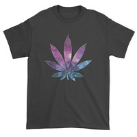 Galaxy Print Pot Leaf Mens T-shirt
