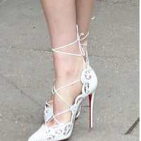 Sexy Lady Genuine Leather Pointed Toe Strappy Pumps Heels Womnens Lace-Up Cut-Out Thin High Heeled Sandals LAVELIQ
