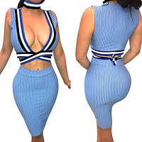 Striped Deep V-neck Crop Top with Short Skirt Two Pieces Dress Set