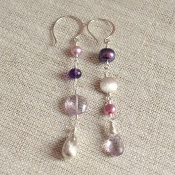 NEW Sterling Silver Mismatched Earrings, Lavender Pink Amethyst, Real Freshwater Pearl, Unmatched, Gemstone Jewelry, Free Shipping