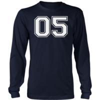 Men's Vintage Sports Jersey Number 05 Long Sleeve T-Shirt for Fan or Player #05