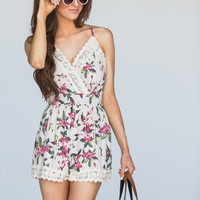 Shirley Ivory Floral Crochet Romper