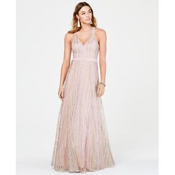Trixxi Juniors Floral-Embroidered Tulle Gown