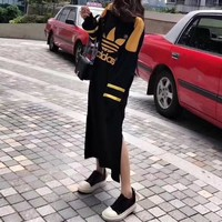 """""""Adidas"""" Women Fashion Casual Multicolor Clover Letter Embroidery Long Sleeve Maxi Dress"""