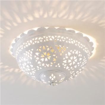 Moroccan Scalloped and Punched Metal Semiflush Ceiling Light - Shades of Light