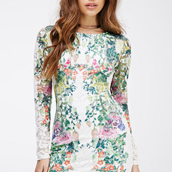 Floral-Printed Lace Bodycon Dress