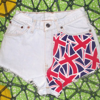 United Kingdom Flag High Waisted Star Studded Vintage