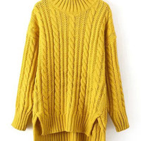 Yellow Turtle Neck Cable-knit Dip Hem Sweater