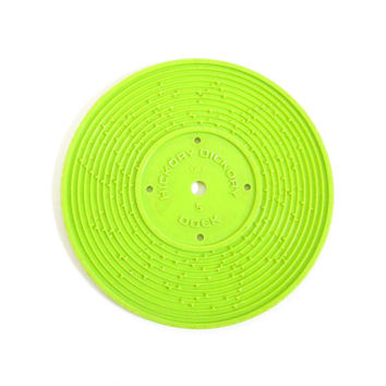 Fisher Price Record #5 Edelweiss, Hickory Dickory Dock Green Plastic Disc for Record Player Toy