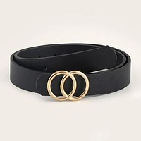 Fashion Casual Men Double-O Ring Metal Buckle Belt