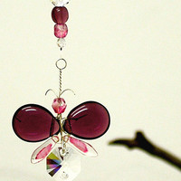 Swarovski Crystal Suncatcher Hanging Purple Butterfly Ornament Wedding Garland Car Charm Rear View Mirror Charm Xmas Gift Wishing Tree