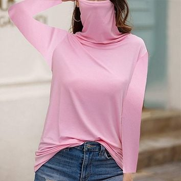 fhotwinter19 Explosive fashion multifunctional dust-proof high-neck long-sleeved T-shirt for women
