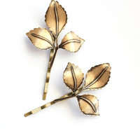 Branch Bobby Pins Nature Hair Accessories Antiqued Gold Leaf Bobby Pins Fall Autumn Rustic Brass Woodland Wedding Golden Leaves Hair Grips