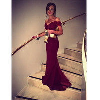 2016 New Appliques Sequins Backless Party Eveing Gowns Elegant Sweetheart Mermaid Burgundy Prom Dresses