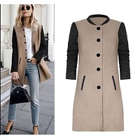 Autumn Winter Women A-line Coat Slim Long Trench Patchwork Coats Female Long Sleeve Top Jackets jaqueta feminina new