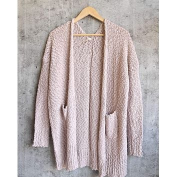 Open Front Longline Cardigan in Twig