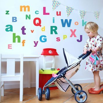 A-Z Bright Alphabet ABC's Fabric Wall Decals, Eco-Friendly Reusable