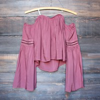 mauve off the shoulder boho top