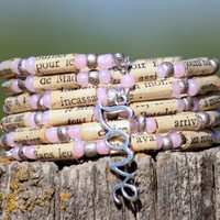 French Language Paper Bead Bracelet in Pink - Stacking Wrap Bracelet - Memory Wire - Upcycled