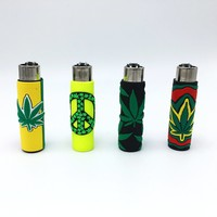 "Bundle - 4 Items - Clipper Lighter  with Rubber Case Marijuana Hemp ""Hojas Maria"" Collection"