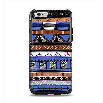 The Abstract Blue and Brown Shaped Aztec Apple iPhone 6 Otterbox Symmetry Case Skin Set