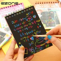 EZONE DIY Cute Kawaii Coil Graffiti Notebook Black Page Magic Drawing Book Painting Notepad for Kids Notepad Stationery Gift