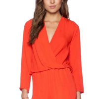Sunshine Orange Long Sleeved Open Back Romper