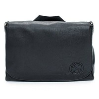 Gucci Soho Black Diaper Bag Leather Italy Messenger New