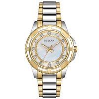 Bulova Diamond Ladies Watch - Mother-of-Pearl - Stainless and Gold-Tone