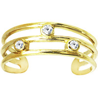10k Yellow Gold Cubic Zirconia Trio Band Toe Ring | Body Candy Body Jewelry