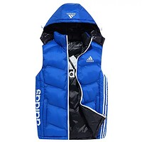 Adidas New Fashion Autumn And Winter Letter Print Wear Nn Both Sides Wear Men Leisure Hooded Vest Coat Blue