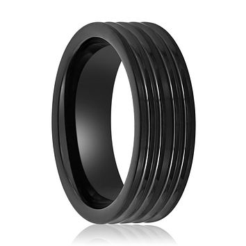 Tungsten Carbide Black Wedding Ring with Grooved Lines Ring.