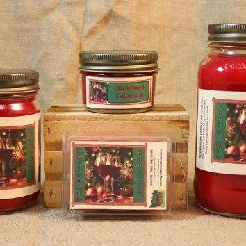 Christmas Cabernet Candle and Wax Melts, Beverage Scent Candle, Highly Scented Candles and Wax Tarts, Christmas Wine Candle, Hostess Gift