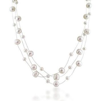 Amazon.com: Bling Jewelry Bridal 925 Silver Freshwater Pearl Illusion Three Strand Necklace 16in: Jewelry