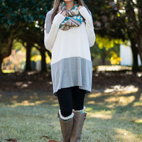 Colorblock Button Tunic, Gray/White