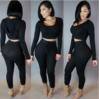 Black Hooded Crop Top High Waist Pants Set