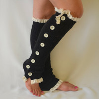 Leg warmers- black slouchy open button down lace leg warmers knit lace leg warmers boot socks christmas gifts