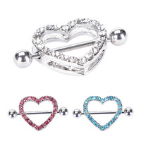 Nipple Ring Heart Gem Dangle Chain Nipple Shield Ring Body Jewelry Nipple Shield Rings Jewelry Helix Piercing Barbell SM6