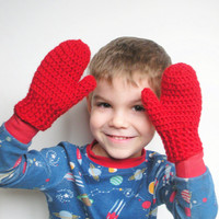 Red Wool Toddler Mittens, Crochet Wool Childrens Mittens, MADE TO ORDER.