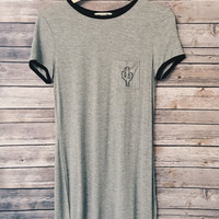 Cactus Pocket Tee Dress (Heather Grey)