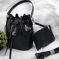 FENDI Popular Women Leather Crossbody Shoulder Bag Satchel Clutch Bag Set Two Piece Black