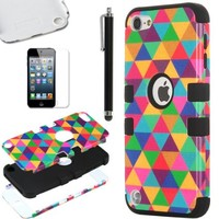 ULAK Hybrid Hard Pattern with Silicon Case Cover for Apple iPod Touch 5 Generation with Screen Protector and Stylus (Black / Colorful Triangle)